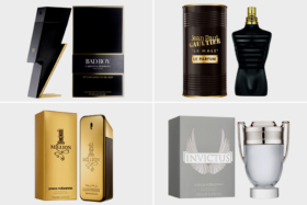 Bad Boy, Jean Paul Gaultier, 1 Million and Invictus perfumes bottles and their boxes