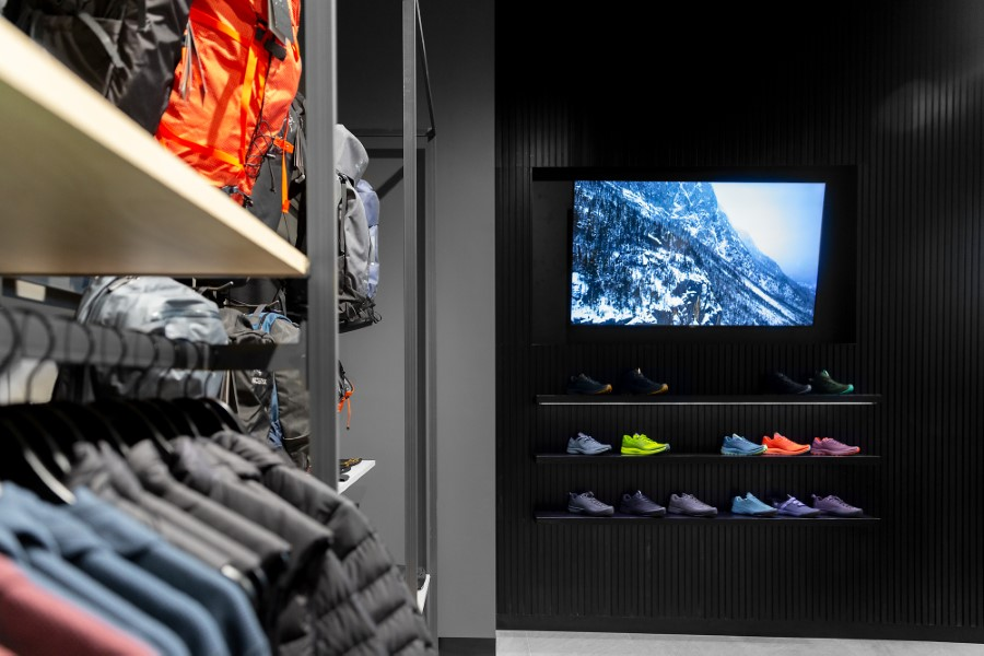 Clothes racks and shoe showcases atArc'teryx Melbourne flagship store