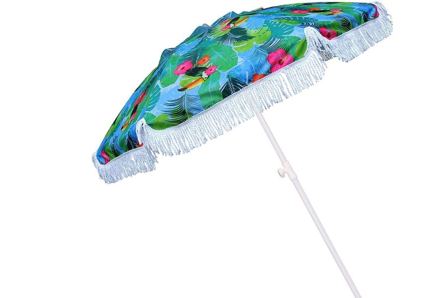 AMMSUN 2m Beach Umbrella with Sand Anchor Tilt Mechanism