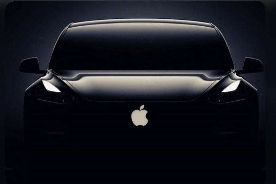 Silhouette of front of Apple car with logo visible