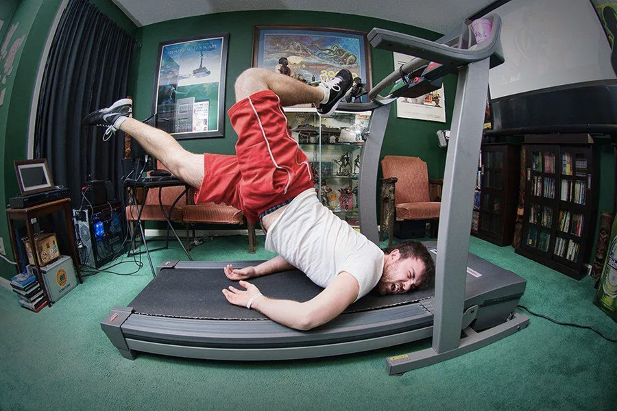 A man who fell head-first on a treadmill