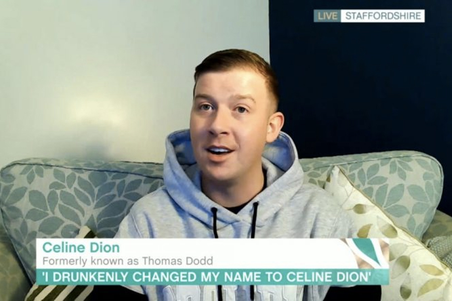 """A man sitting on a couch with the headline reading """"Celine Dion Formerly known as Thomas Dodd"""" """"I drunkenly changed my name to Celine Dion"""""""