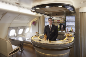 Barkeep at the bar of the new Emirates A380