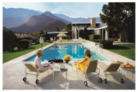 An artwork of women talking by a swimming pool from FAA