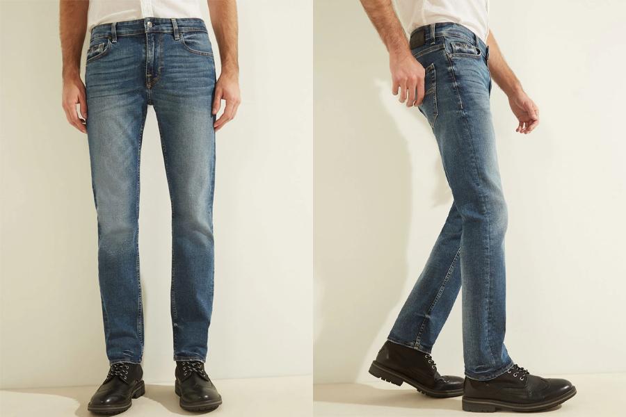 Low Rise Slim Straight Denim Jeans in Stratus Blue Wash