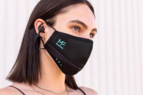 A woman wearing Maskfone mask