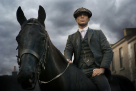 Cillian Murphy on a black horse from Peaky Bliners