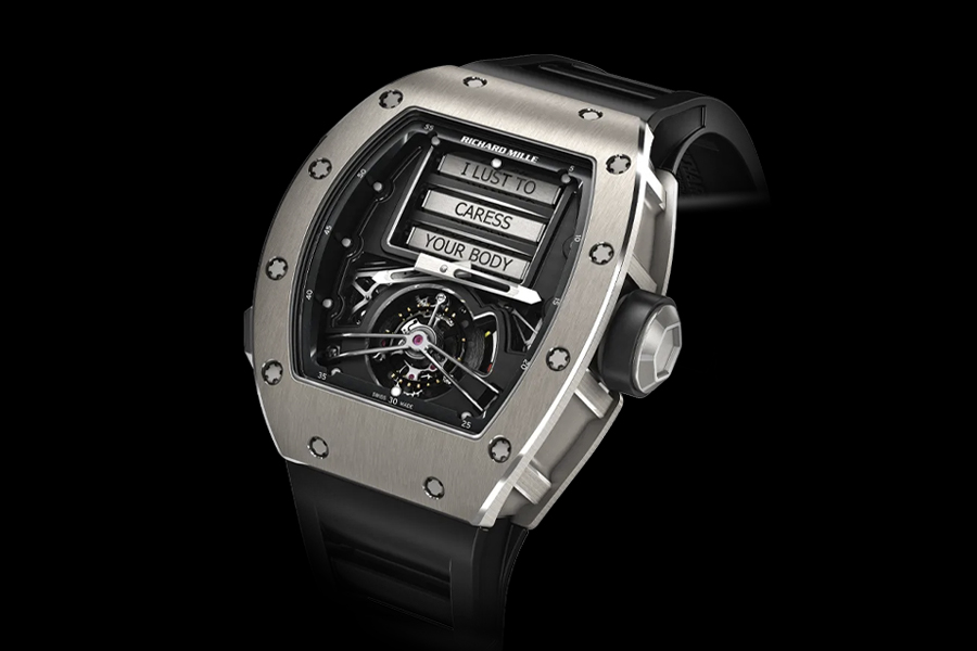 Richard Mille RM 69 Manual Winding Tourbillon Erotic wristwatch reading I lust to caress your body