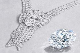 Tiffany 80-carat diamond next to the necklace