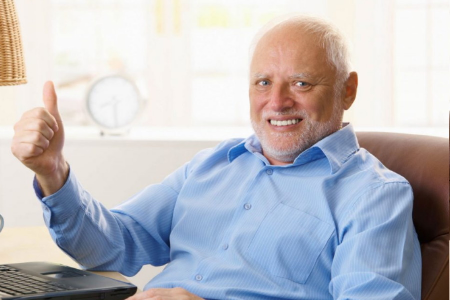 Hide The Pain Harold showing a thumbs up