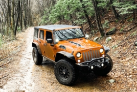 A rust orange Jeep on a forest trail
