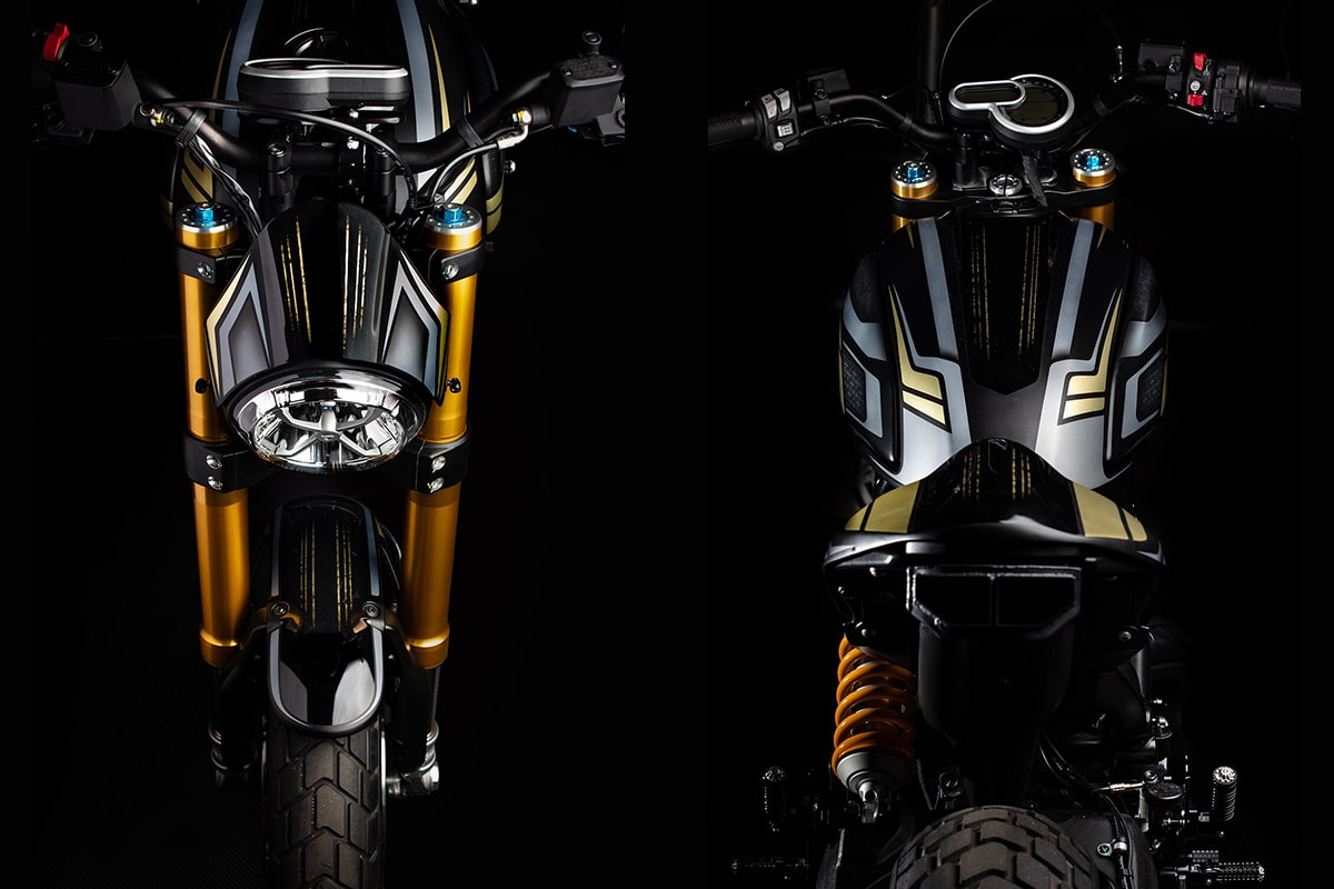 Custom Ducati Scrambler 1100 by Gasoline Motor Co front and back