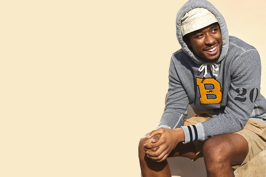 Todd Snyder x Brooklyn Circus model wearing hoodie jacket