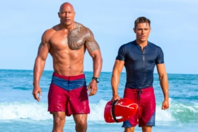 Dwayne Johnson and Zac Efron in the poster from Baywatch movie