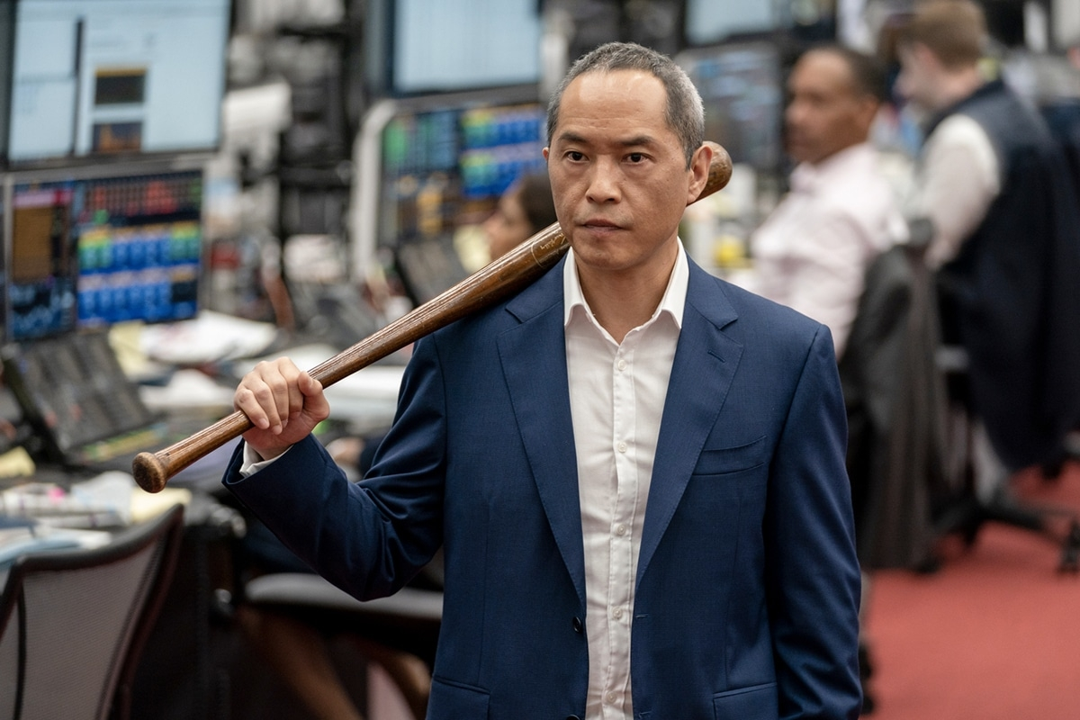 Ken Leung with a baseball bat from HBO's Industry