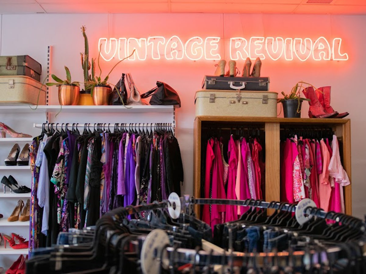 lifeline stones corner vintage store interior with Neon Sign and Second Hand Clothing