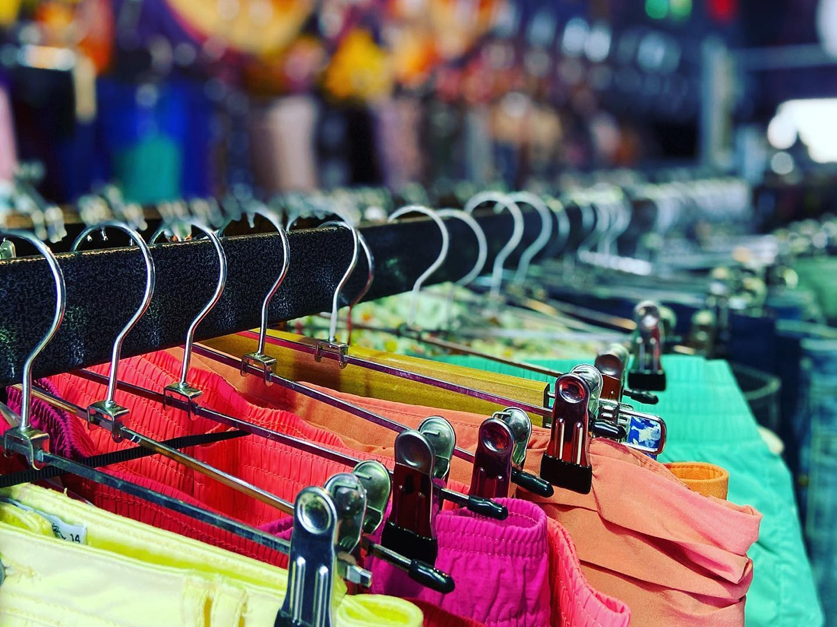 colorful second hand clothes rail at studio thrifty 4