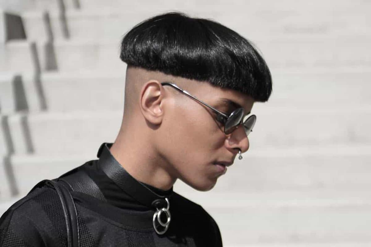 men's bowl cut with a bald fade hairstyle
