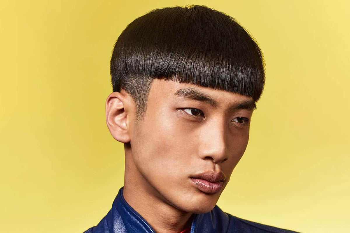 men's bowl cut with a drop fade hairstyle