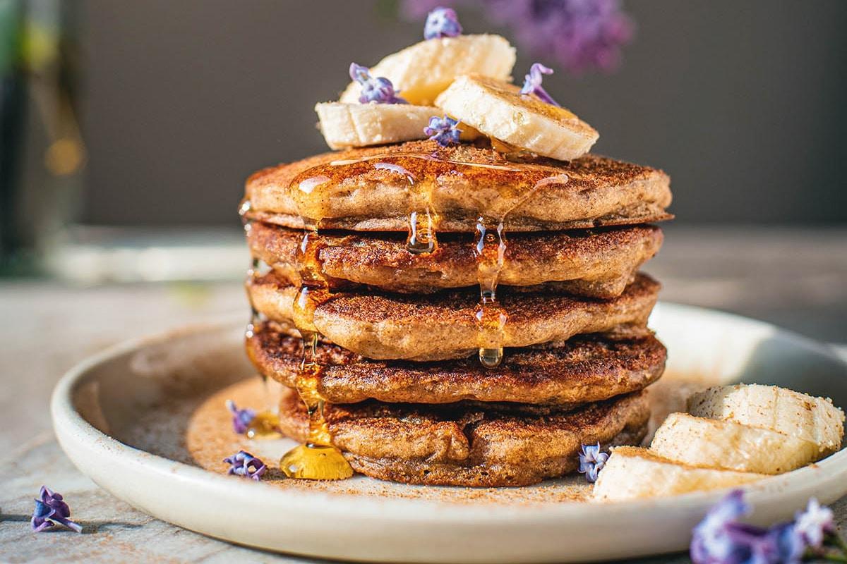 grain free banana protein pancakes with honey