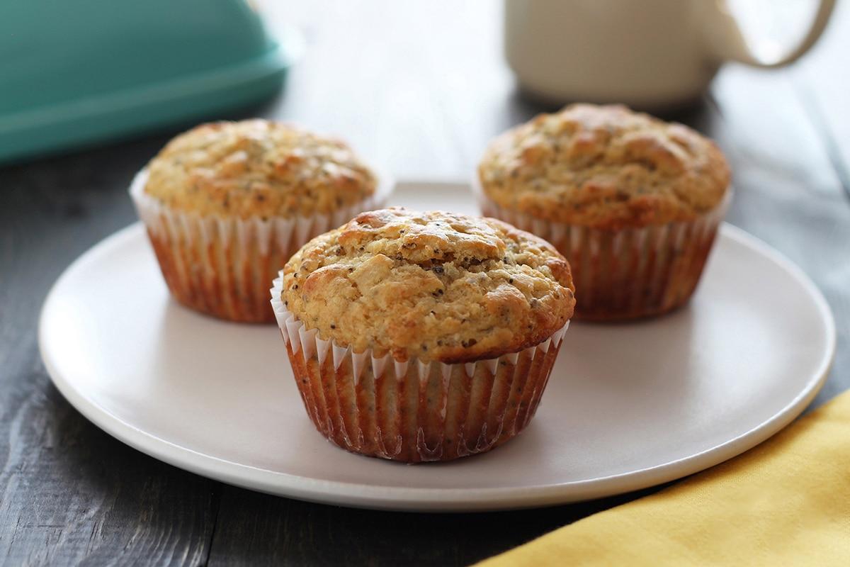 three lemon chia seed muffins