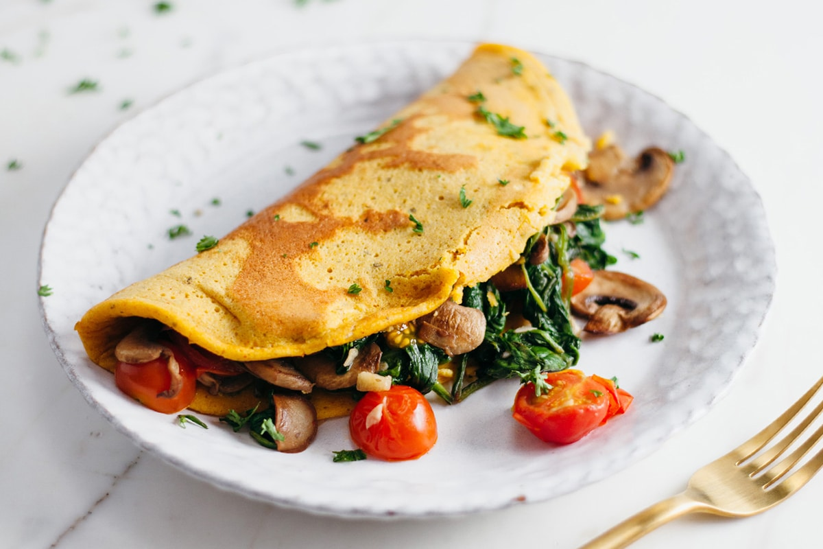vegan omelette with mushrooms and potato