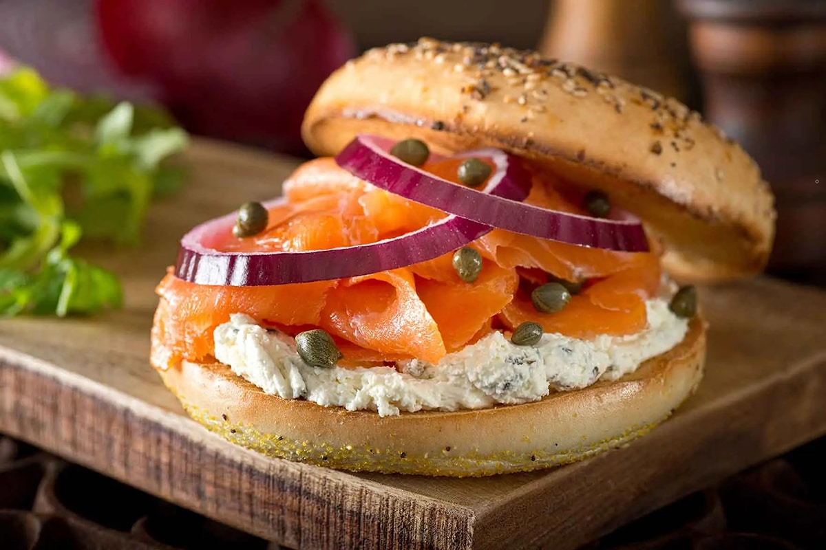 Smoked Salmon Bagel with onion