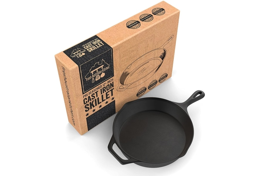 Fresh Australian Kitchen Pre-Seasoned Large Cast Iron Skillet