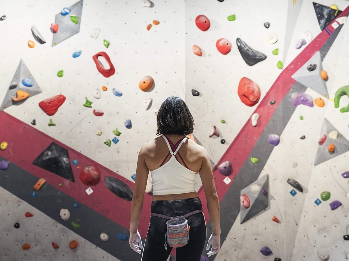 indoor rock climbing and bouldering