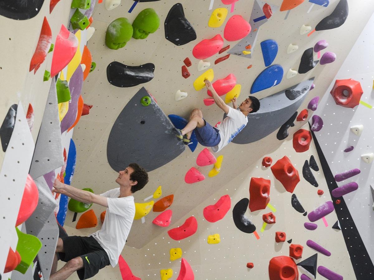 man on climbing wall at skywood climbing gym