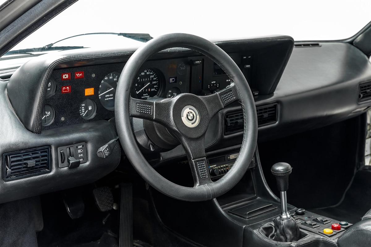 Paul Walker's BMW M1 AHG Studie Coupe steering and dashboard