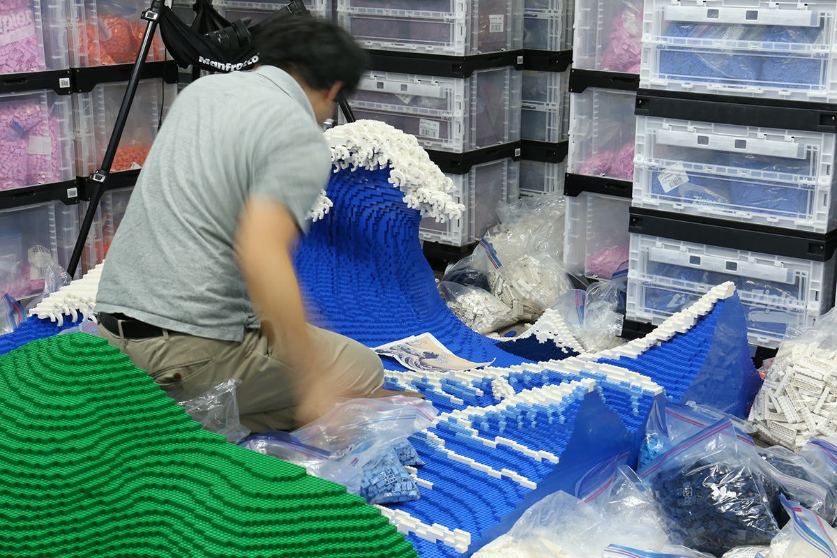 building The Great Wave made from Lego