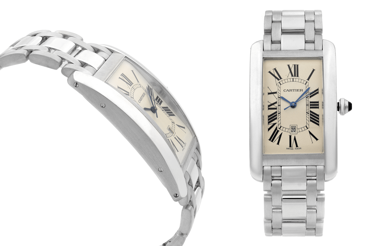 Cartier tank americaine 18k white gold cream dial automatic mens watch w2605511