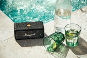 Marshall Emberton speaker by poolside