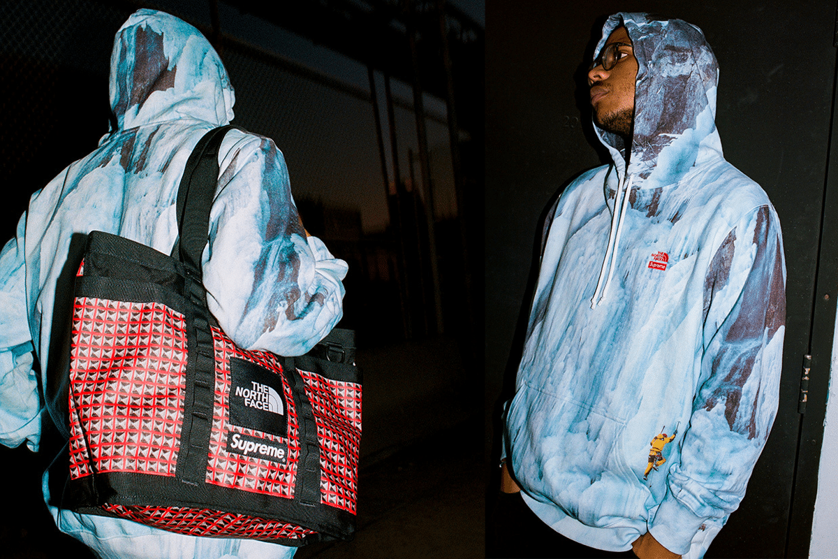 Supreme x the north face blue hoodie