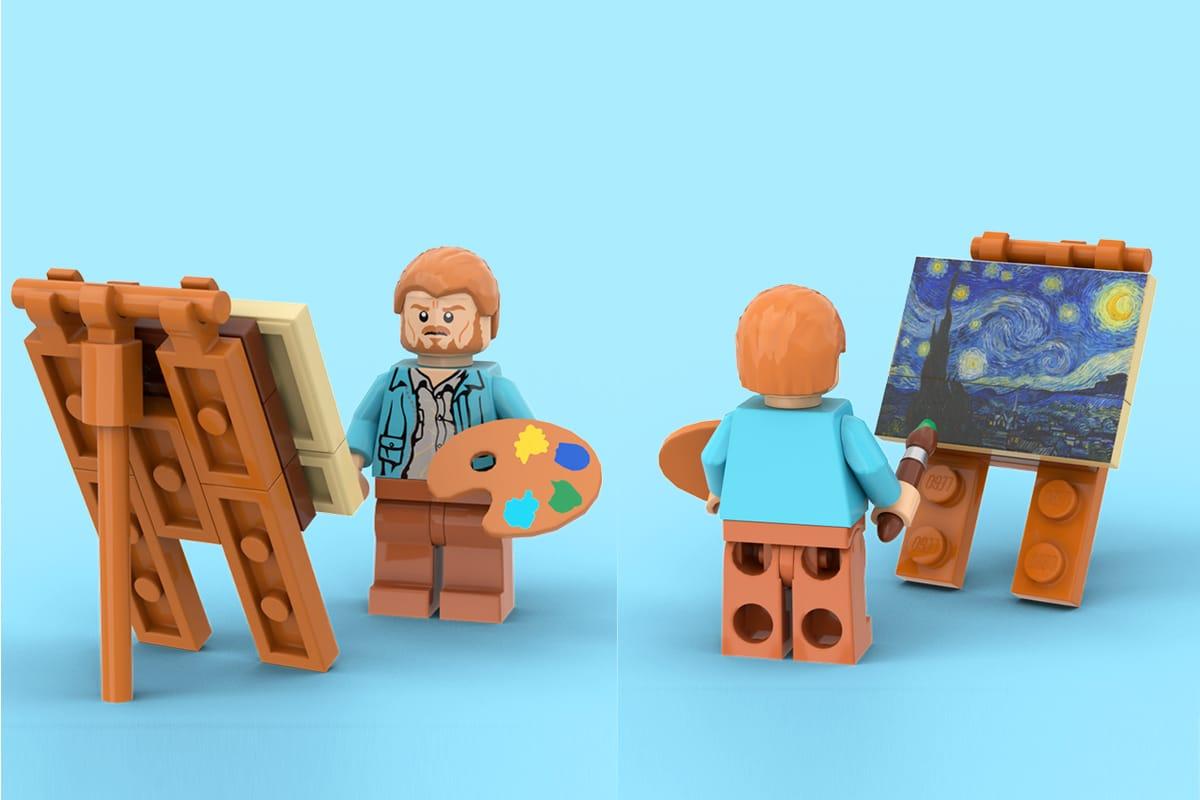 van Gogh's 'Starry Night' 1,552-Piece LEGO Set man paint