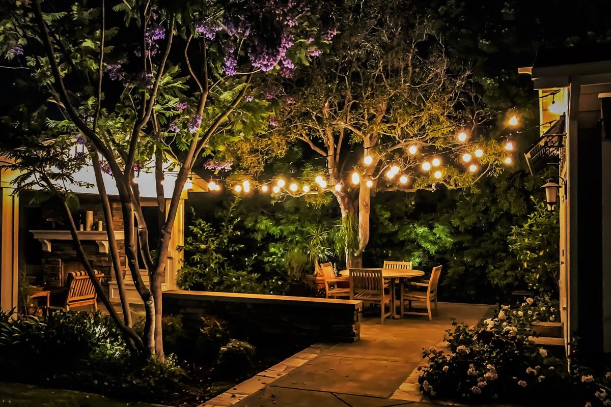 Warm outdoor patio lights