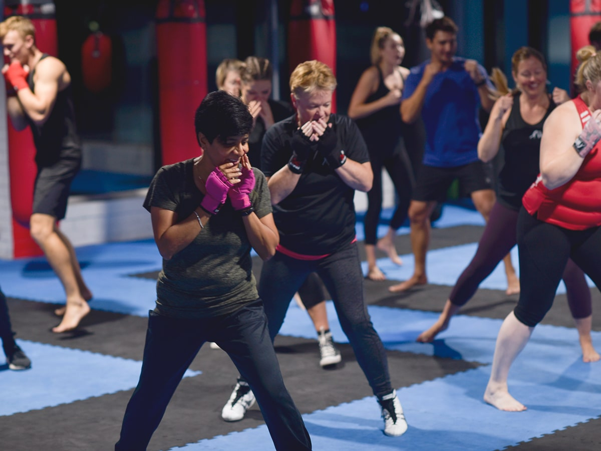 boxing training at white collar boxing gym