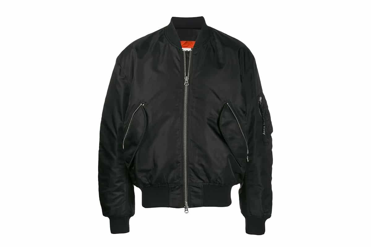 acne black bomber jacket