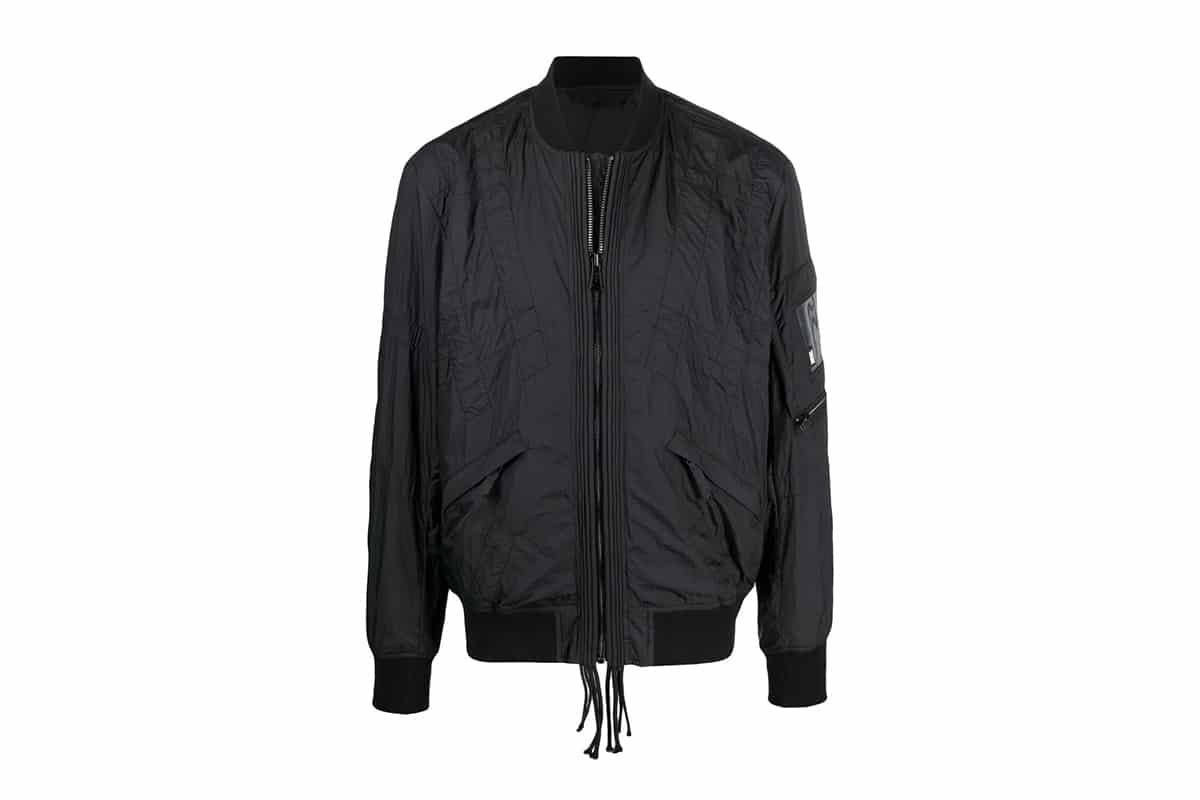 diesel stitched black bomber jacket