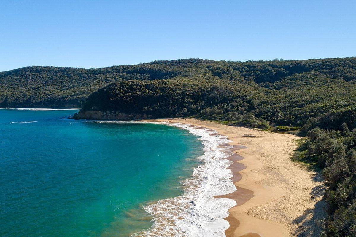 Aerial views of the maitland bay beach