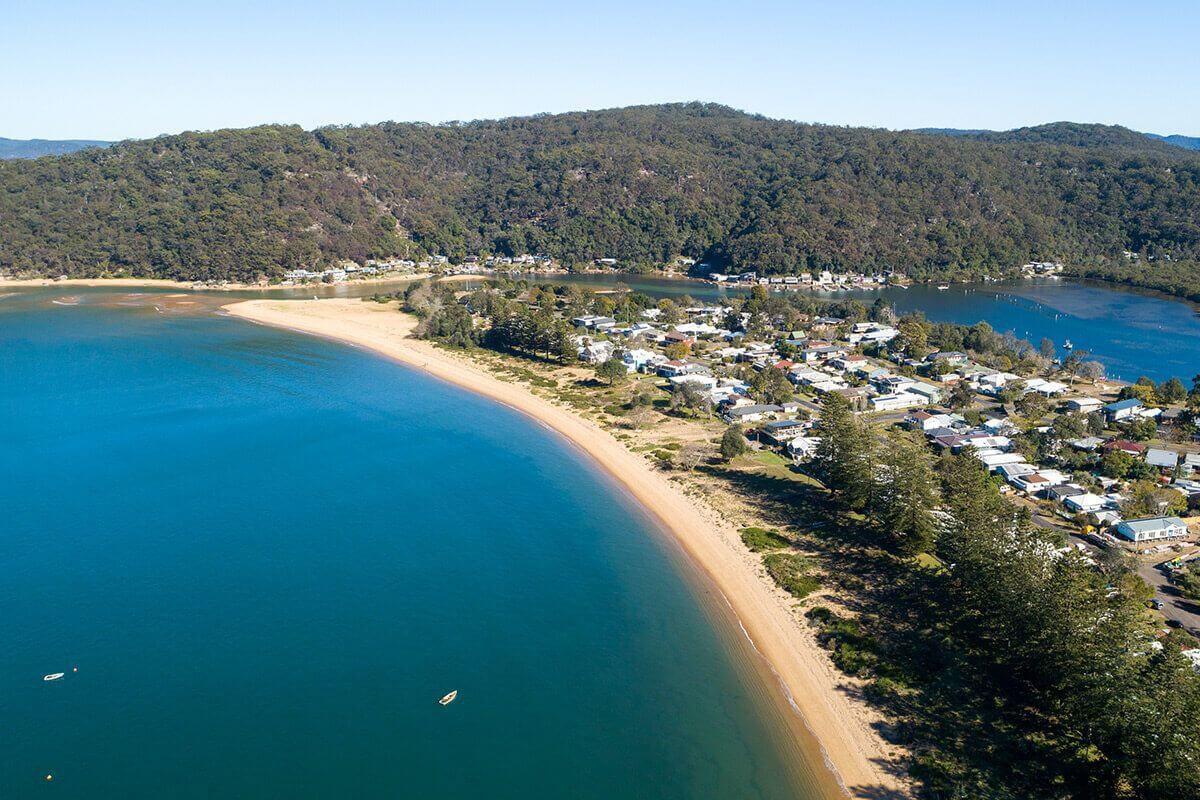 Aerial views of the patonga beach