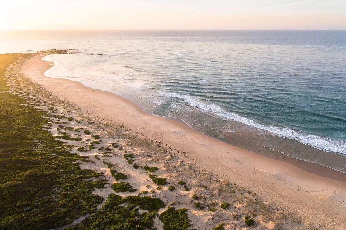Aerial views of the pelicans beach