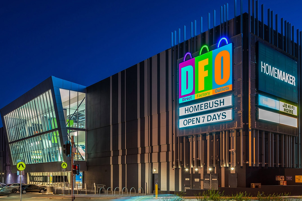 dfo homebush outlet shopping mall outdoors
