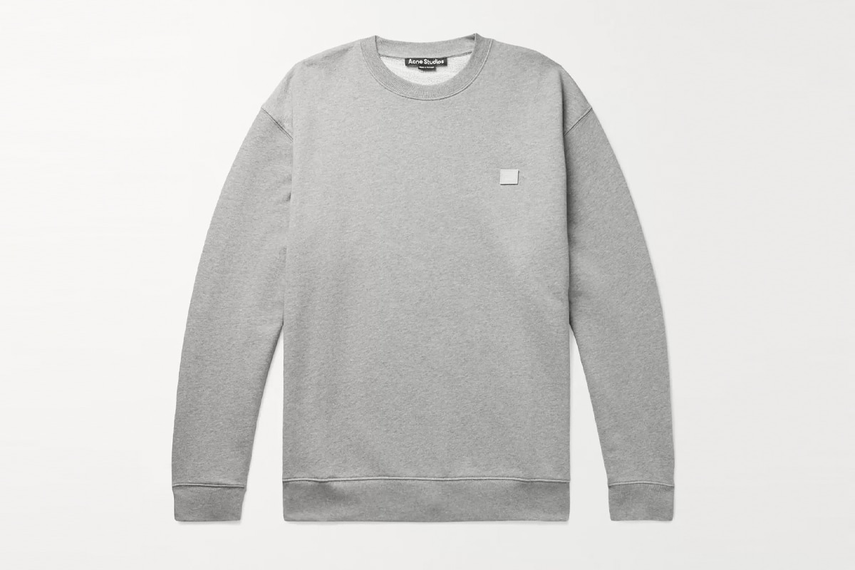 Acne studios forba oversized logo appliqueed loopback cotton jersey sweatshirt