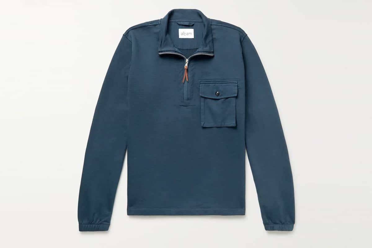 Albam tactical loopback cotton jersey half zip sweatshirt 1
