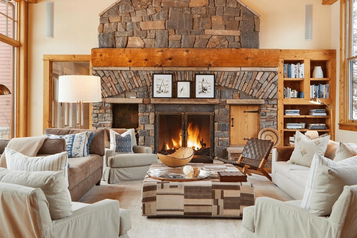 Jerry seinfelds colorado mansion fireplace