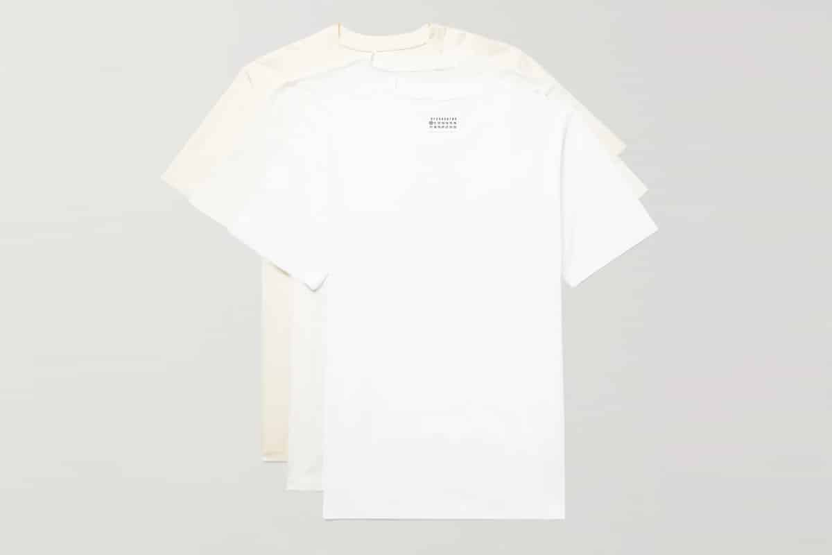 Maison margiela three pack cotton jersey t shirts