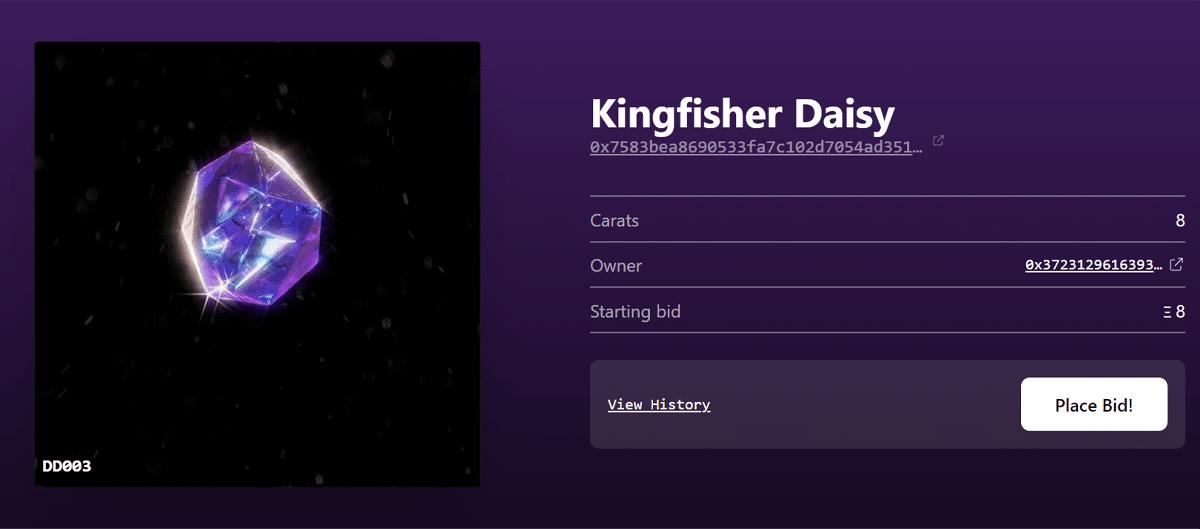 Nft diamond kingfisher daisy