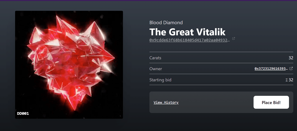 Nft diamond the great vitalik